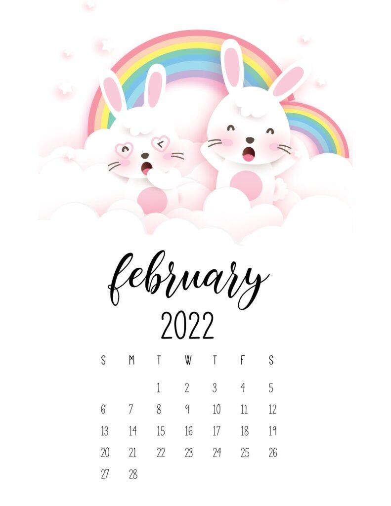 bunny calendar 2022 - february