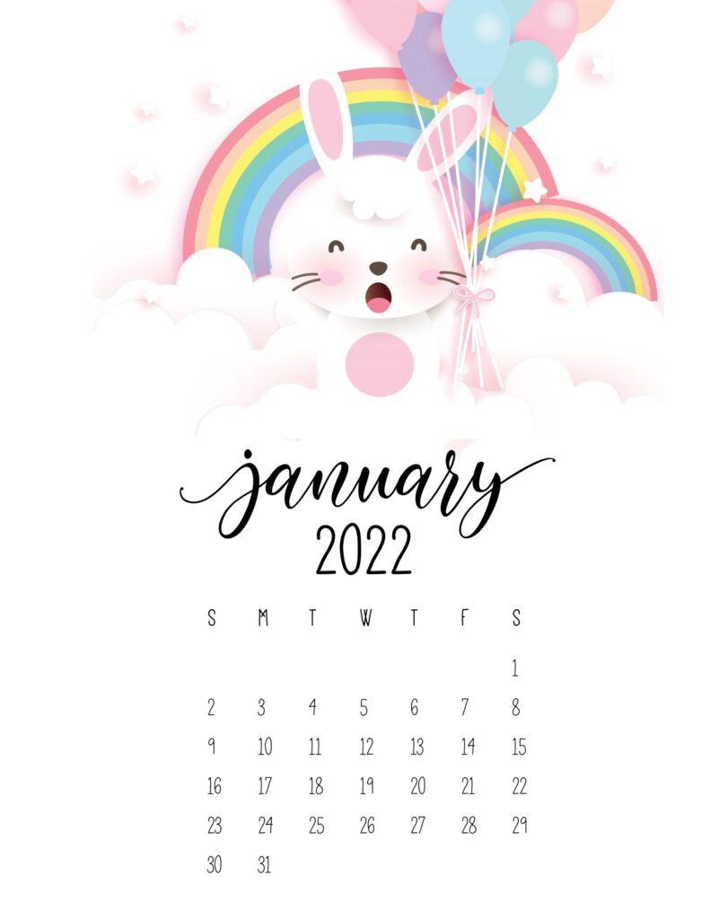 bunny calendar 2022 - january