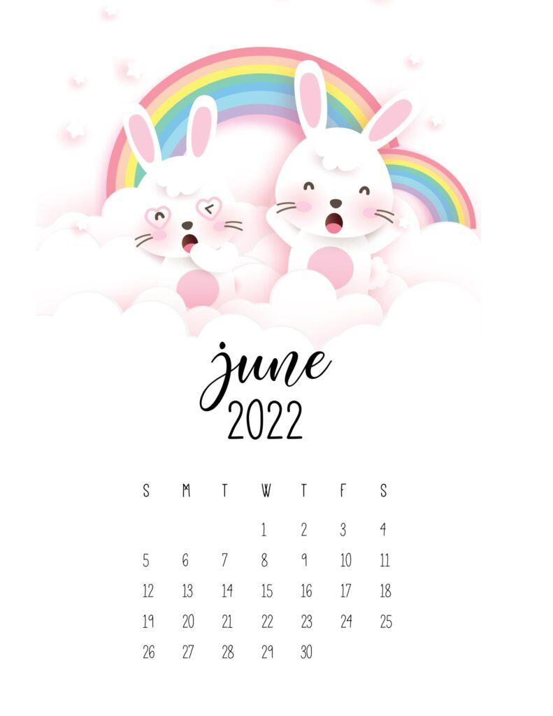 bunny calendar 2022 - june