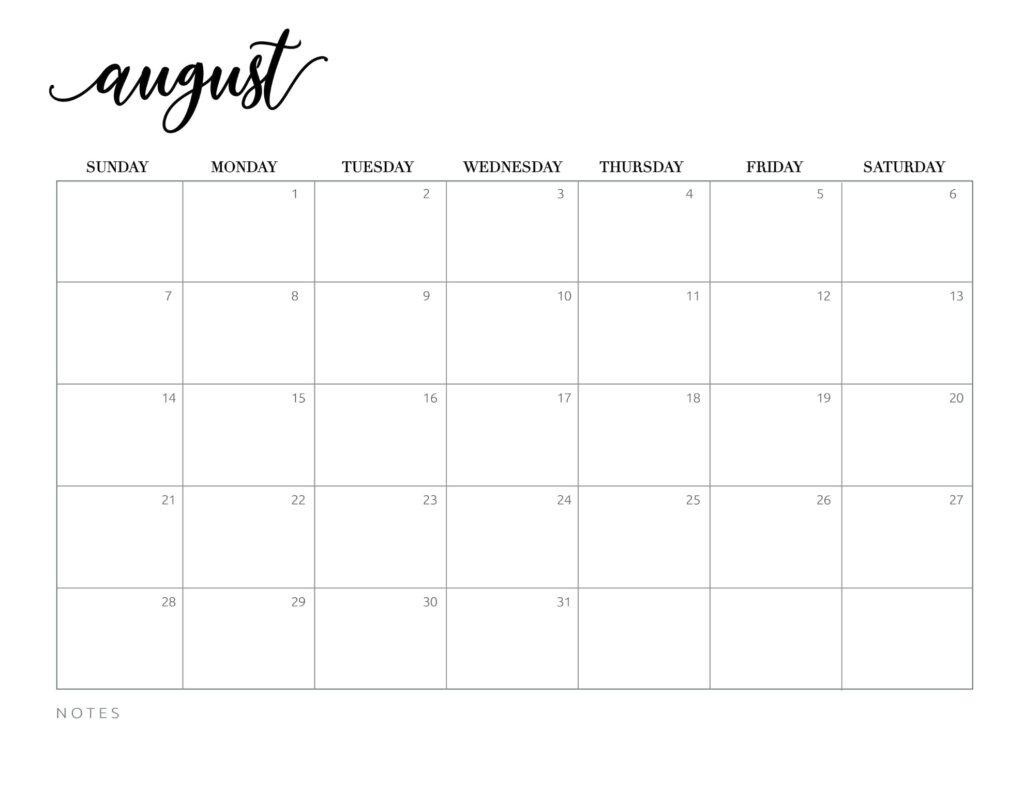 calendar 2022 printable free - august