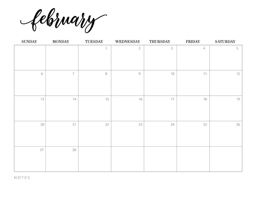 calendar 2022 printable free - february