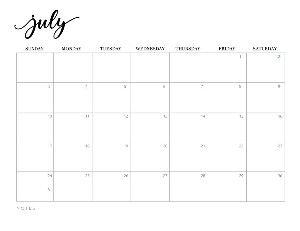calendar 2022 printable free - july