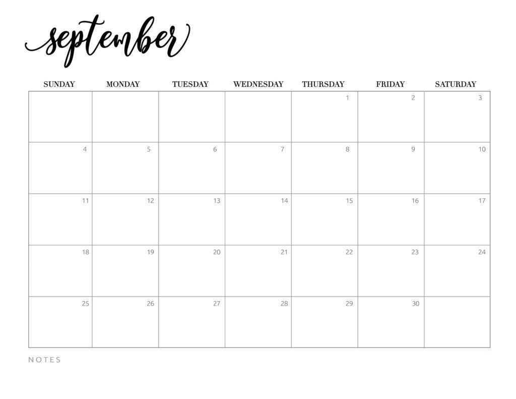 calendar 2022 printable free - september