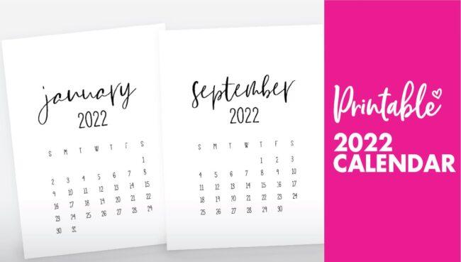 calendar for 2022