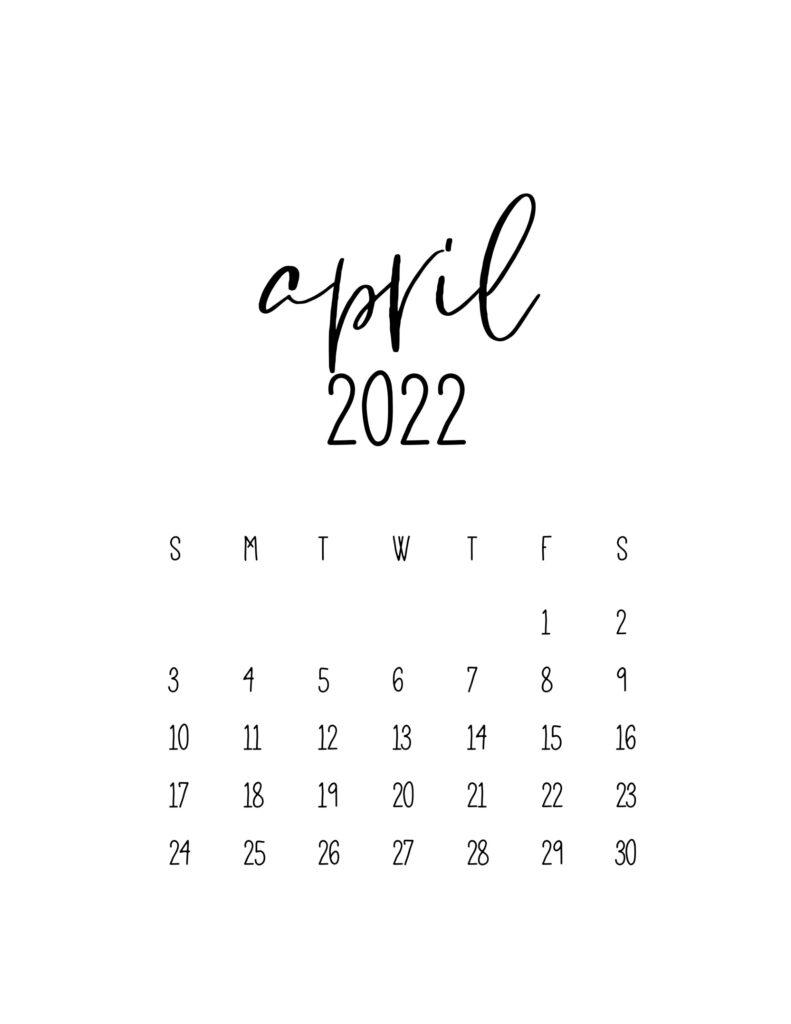 calendar for 2022 - april
