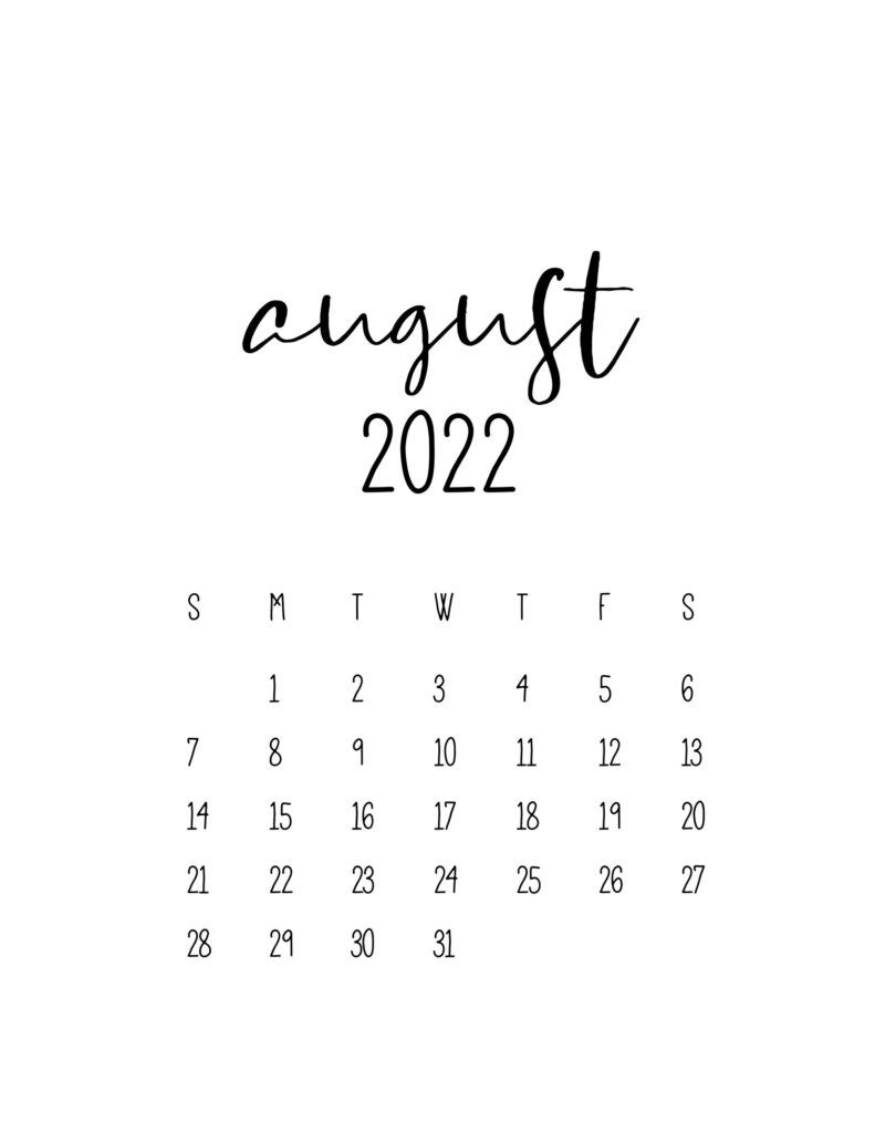calendar for 2022 - august