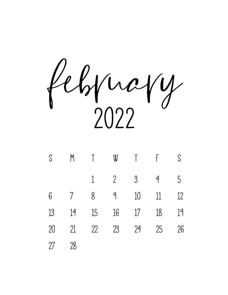 calendar for 2022 - february
