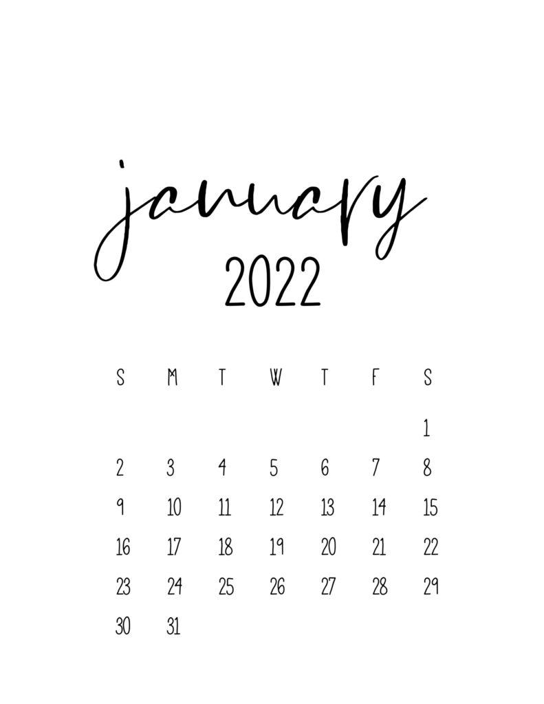 calendar for 2022 - january