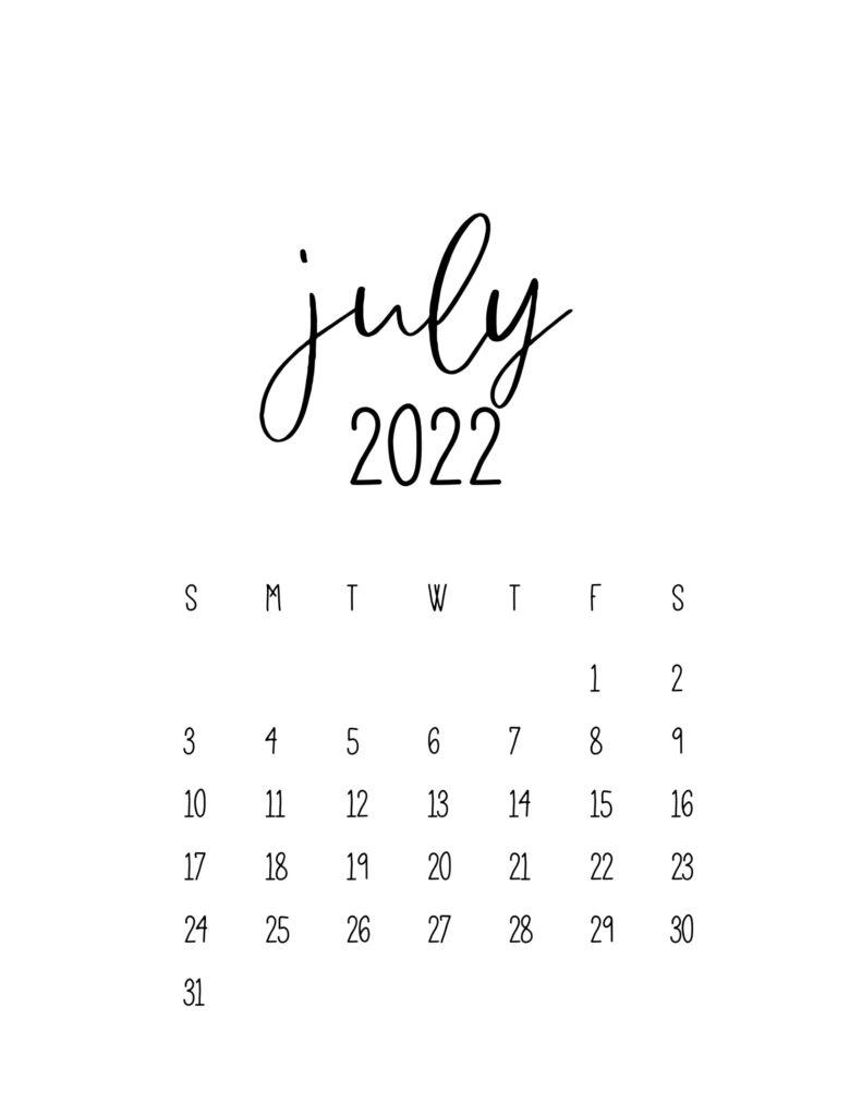 calendar for 2022 - july
