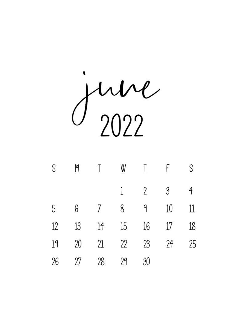 calendar for 2022 - june