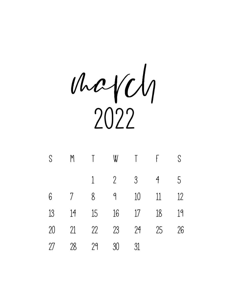 calendar for 2022 - march