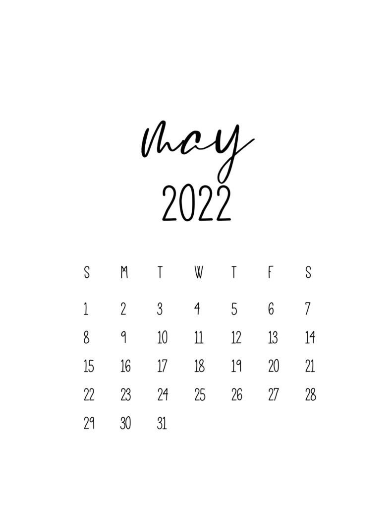 calendar for 2022 - may
