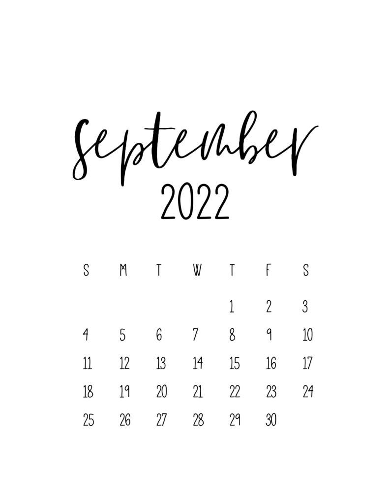 calendar for 2022 - september