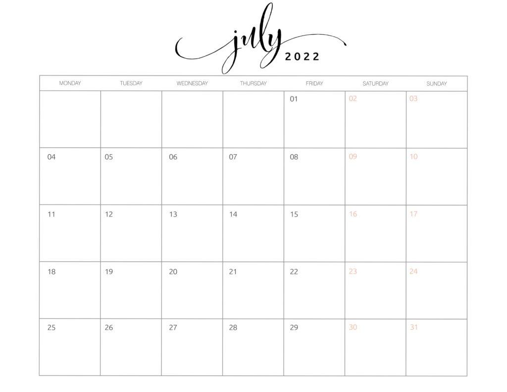 calendar of july 2022
