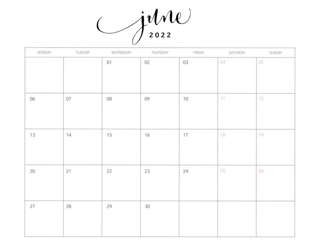 calendar of june 2022