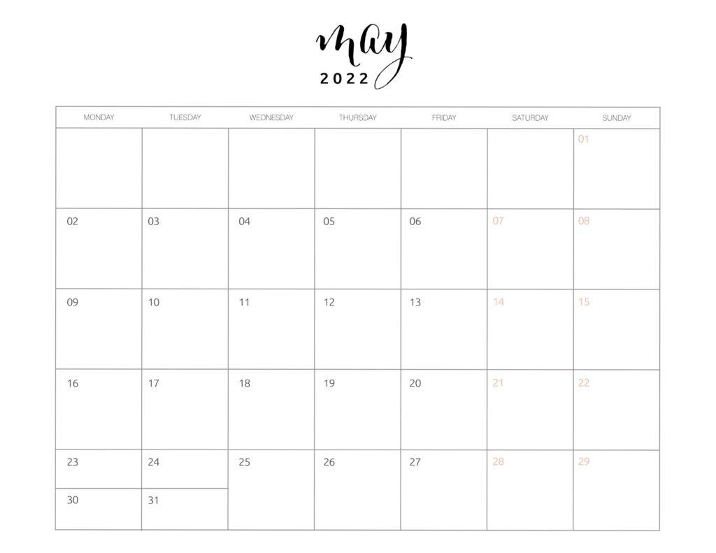 calendar of may 2022