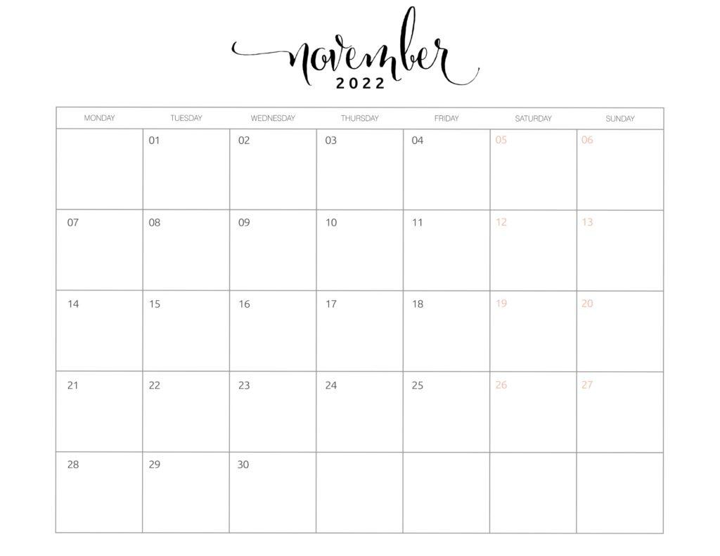 calendar of november 2022
