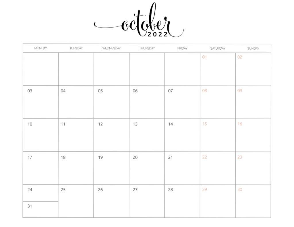 calendar of october 2022