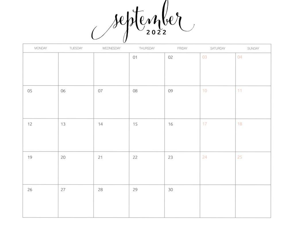 calendar of september 2022
