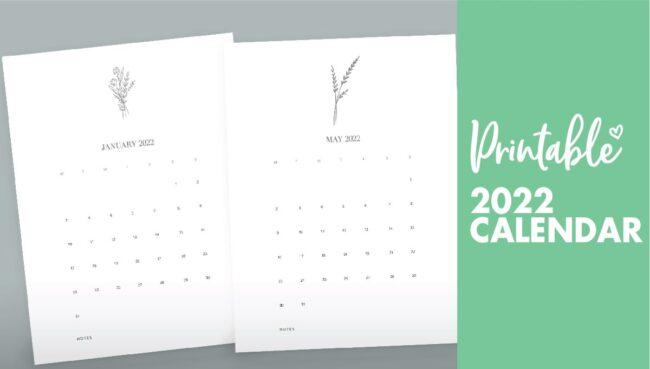 calendar printable 2022