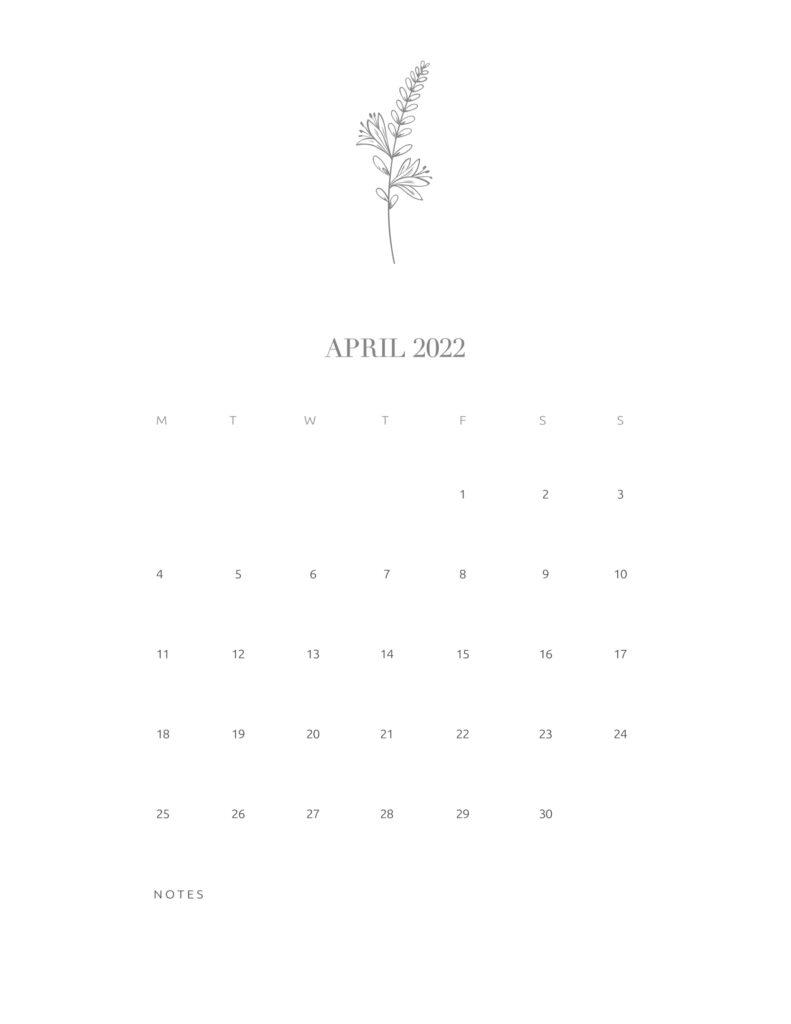 calendar printable 2022 - april