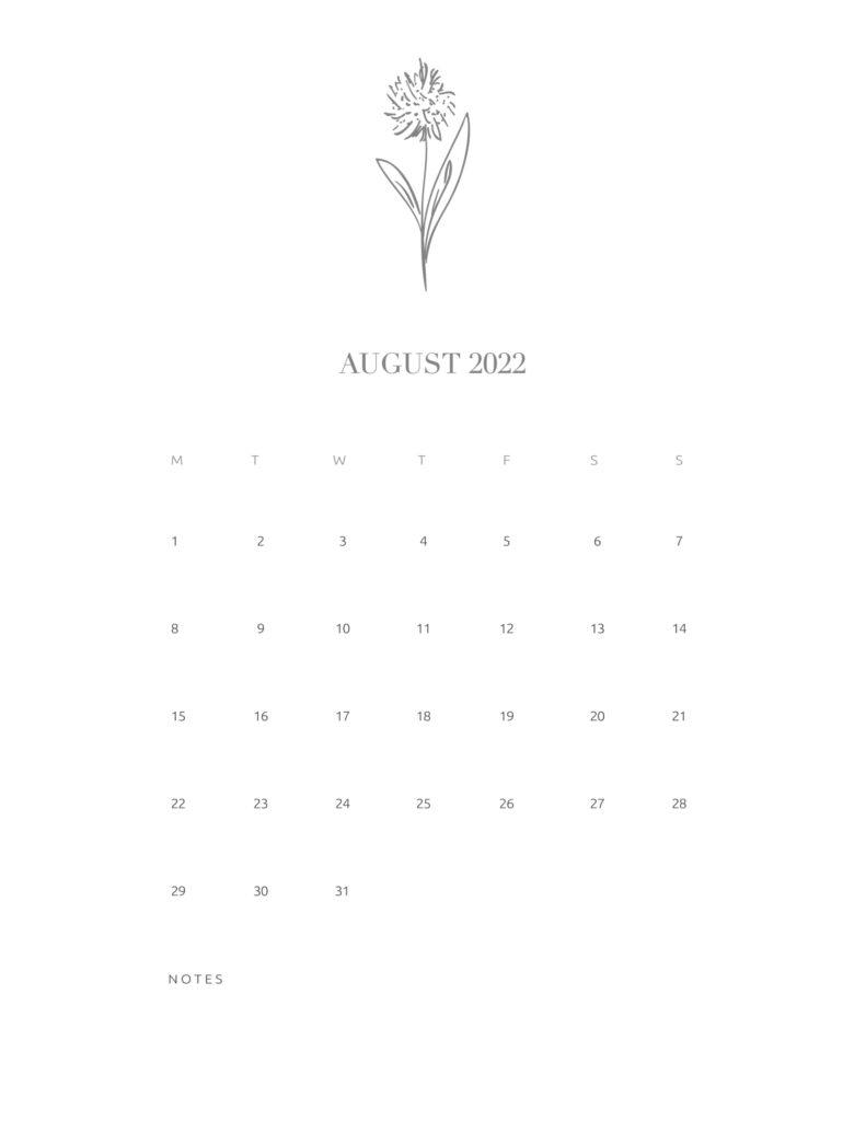 calendar printable 2022 - august