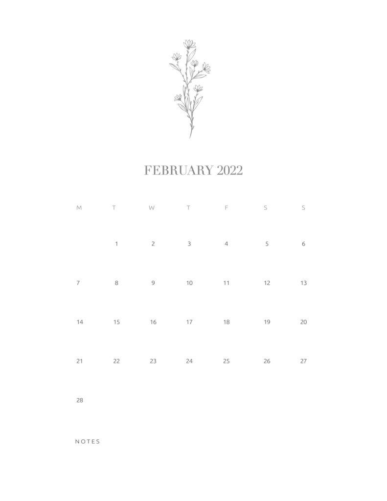 calendar printable 2022 - february