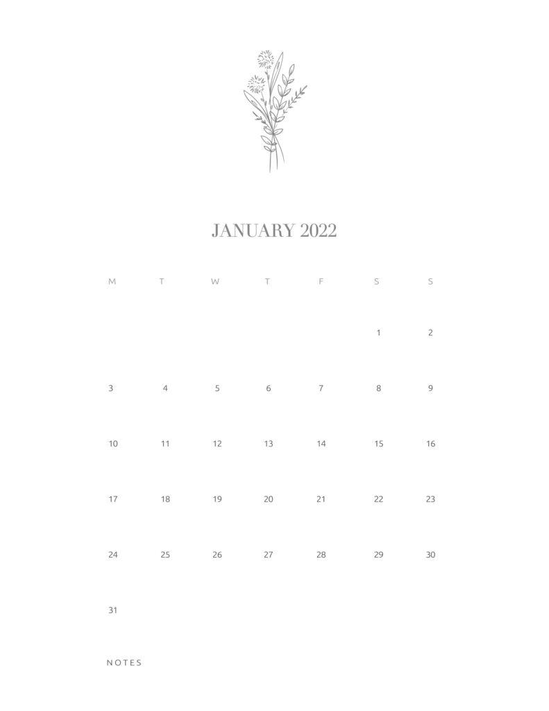 calendar printable 2022 - january