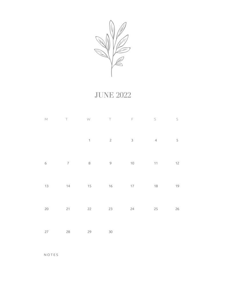 calendar printable 2022 - june