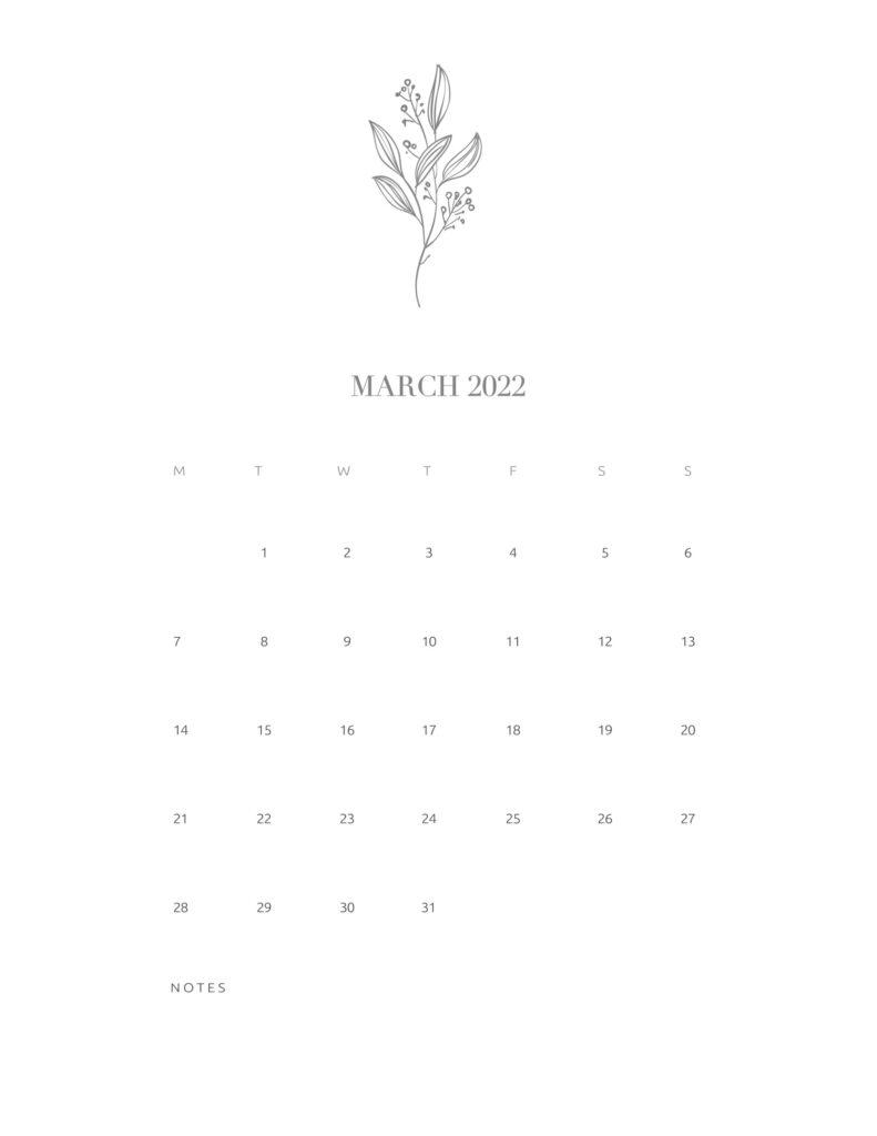 calendar printable 2022 - march