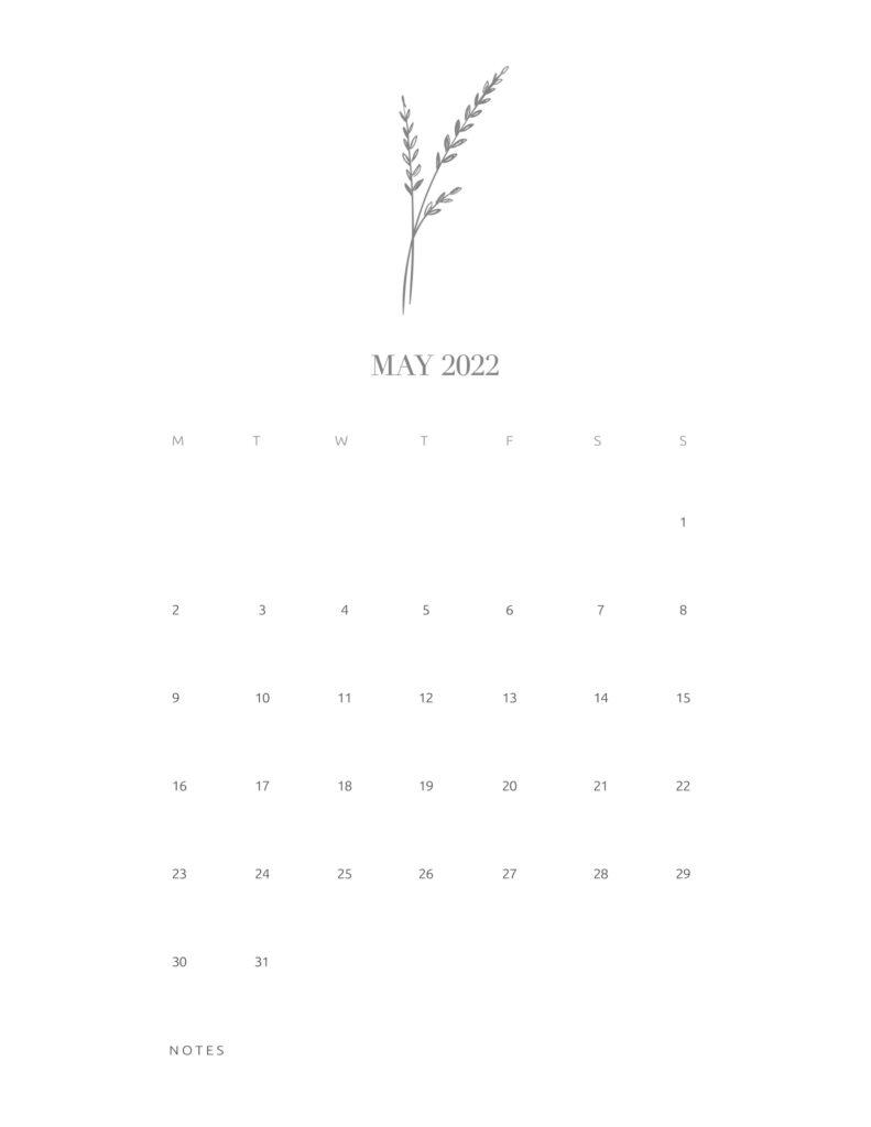 calendar printable 2022 - may