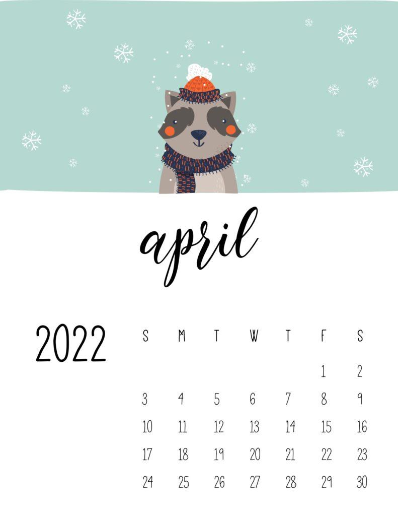 childrens calendar 2022 - april