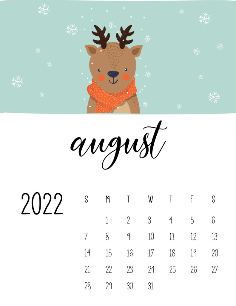 childrens calendar 2022 - august