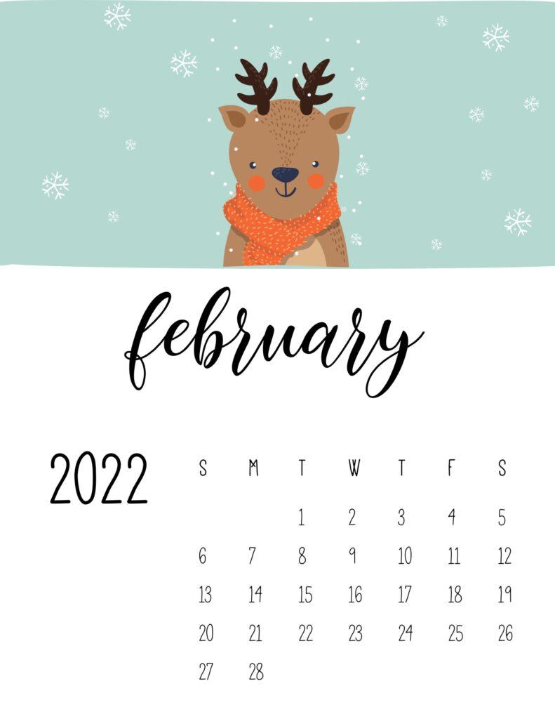 childrens calendar 2022 - february