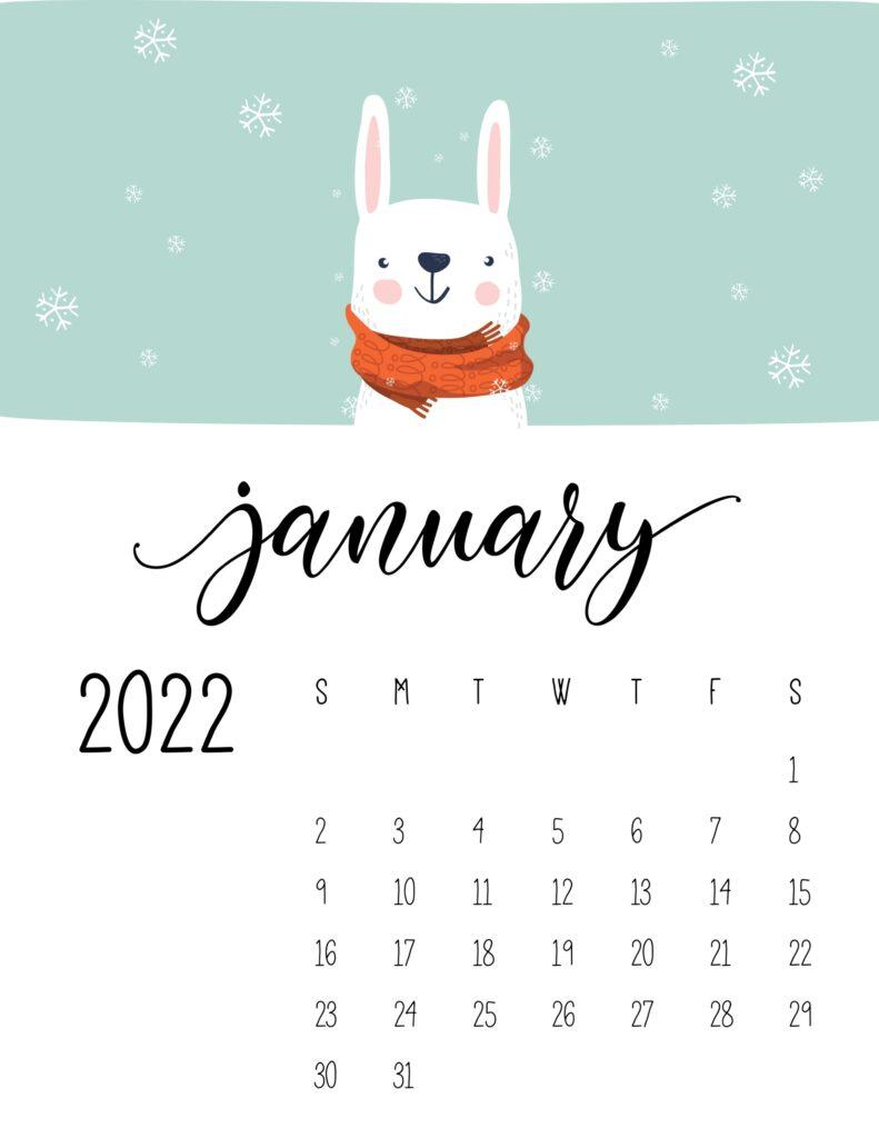 childrens calendar 2022 - january