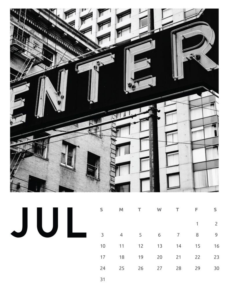 creative photography calendar 2022 - july