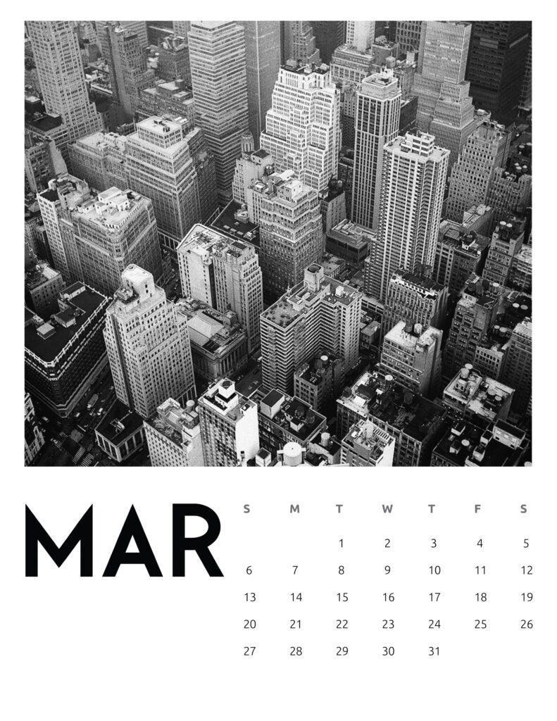 creative photography calendar 2022 - March