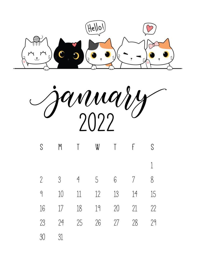 cute 2022 printable calendar - january