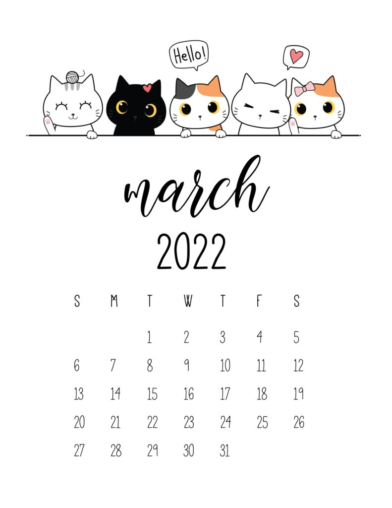 cute 2022 printable calendar - march