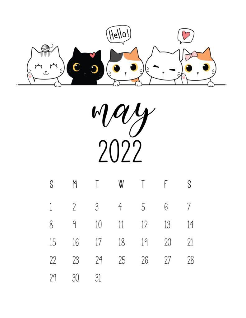 cute 2022 printable calendar - may