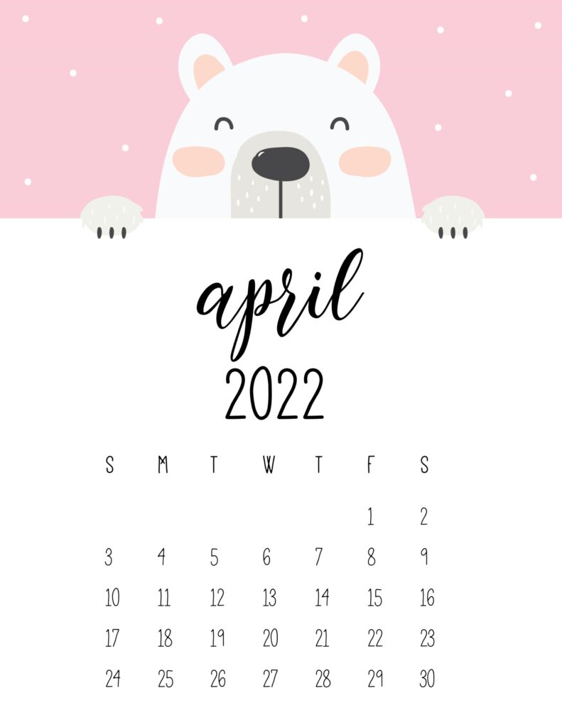 cute bear calendar 2022 - april