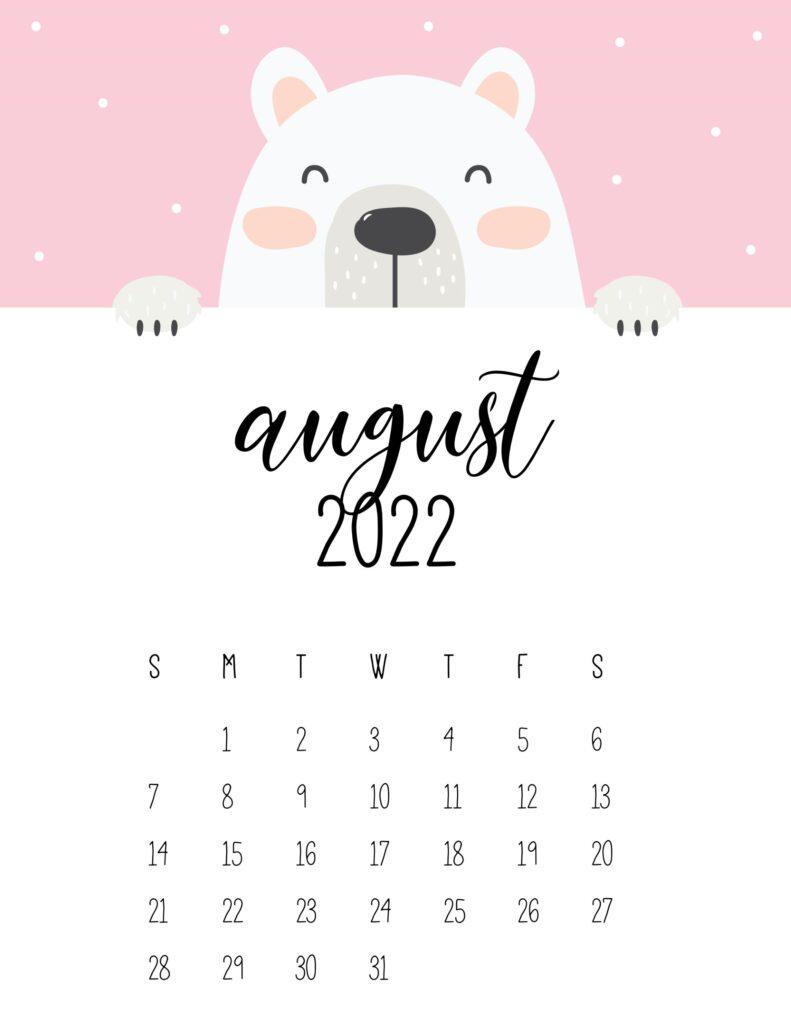 cute bear calendar 2022 - august
