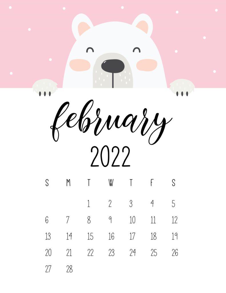 cute bear calendar 2022 - february