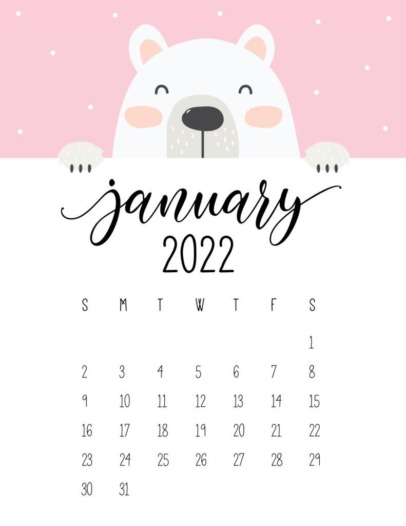 cute bear calendar 2022 - january