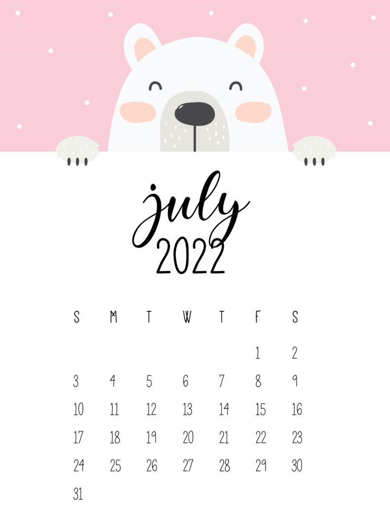 cute bear calendar 2022 - july