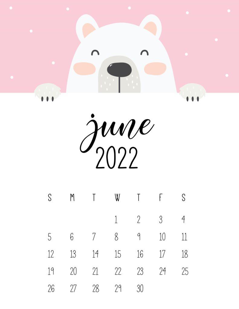 cute bear calendar 2022 - june