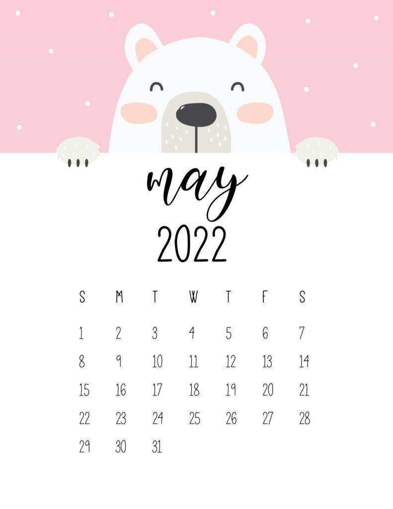 cute bear calendar 2022 - may