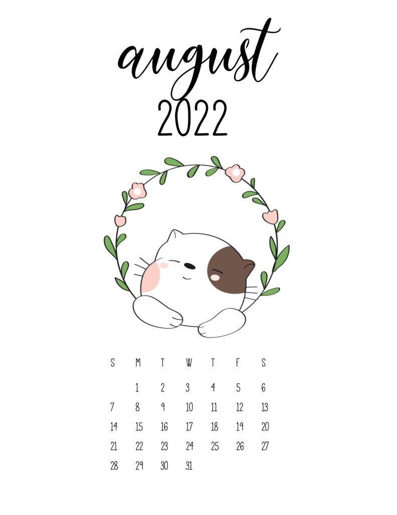 cute calendar 2022 - august
