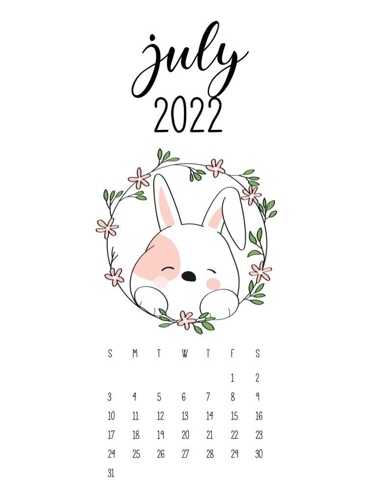 cute calendar 2022 - july