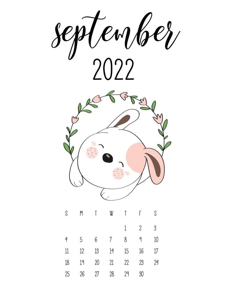 cute calendar 2022 - september